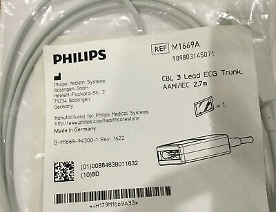 Philips M1669A 12 Pin to 3 Lead Single Pin ECG Trunk Cable Ref M1669A