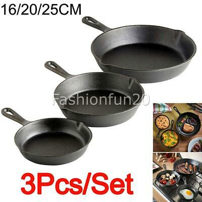 3X / 1SET 3 SIZE Cast Iron Skillet / Fry Pan. Pre Seasoned. Oven Safe. for BBQ