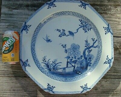 """Antique Chinese Blue White Porcelain Plate Charger 14.25"""" with Garden Scene"""