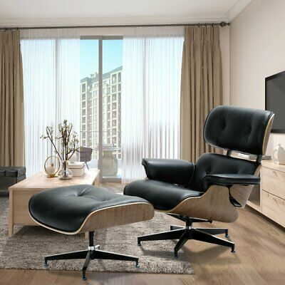 Herman Miller Classic Eames Style Lounge Chair & Ottoman Rosewood Black Leather