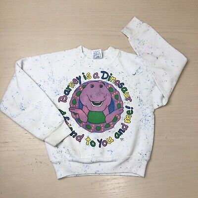 Vintage Barney The Dinosaur Kids Pullover Sweater 6 8 Years Shirt