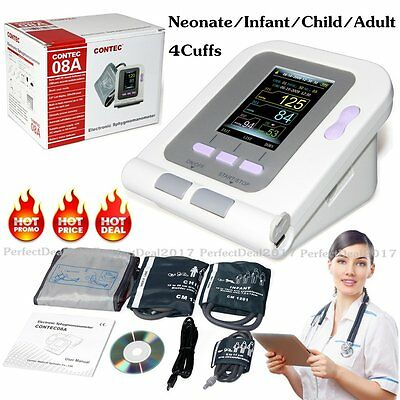 Contec08A Automatic Digital Blood Pressure monitor Neo/Infatn/Child/Adult 4 Cuff