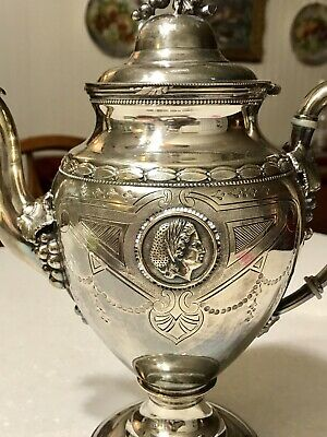 ORNATE VINTAGE VICTORIAN Style SILVER-PLATE COFFEE TEA Pot Rogers Grapes