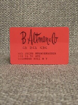 B. Altman & Co Department Store Vintage Collectors Credit Card