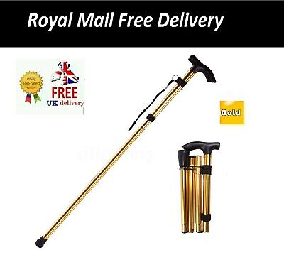 Heavy Duty Folding Mobility Walking Stick Cane Height Adjustable -Gold