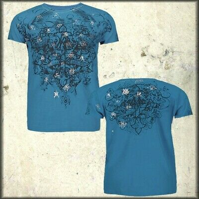 Archaic by Affliction Throwback Cross Vines Silver Foil Mens T-Shirt Blue XL NEW