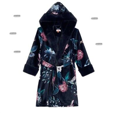Ted Baker - Girls' navy Humming Bird velour dressing gown BNWT 5-6