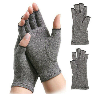 1Pair Anti-Arthritis Copper Gloves Compression Fingerless Therapy Circulation