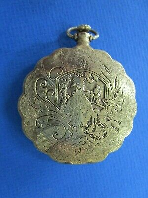 """Vintage Ladies """"Max factor """"  Powder Compact in Gold Tone Fob Style"""