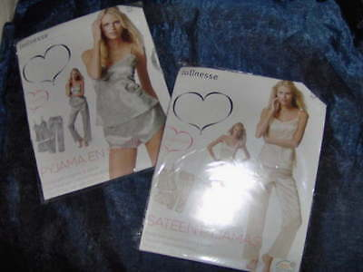 2 SETS OF PYJAMA NIGHTWEAR (TOP- TROUSER- SHORT x 2)  SIZE LARGE -18 SILVER & IV
