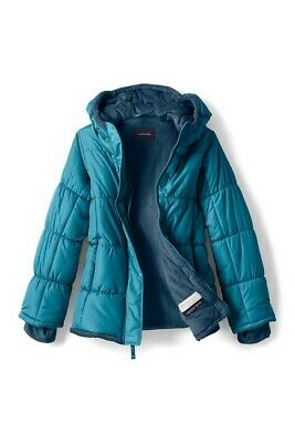 Lands' End Fleece Lined Puffer Jacket Teal Age 6-7 Years TD001 PP 09