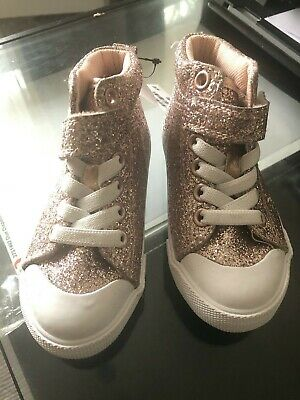 little girls pink sparkly hightop shoes - h&m - size 7
