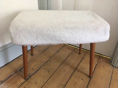 Vintage Retro Sherbourne Footstool With Fluffy Cover