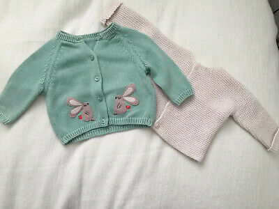 Marks And Spencer Girls Cardigans Green And Pale Pink 0-3mths GUC