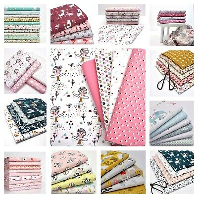 FAT QUARTER BUNDLE GIRLS 100% COTTON Quilting FQ Fabric Children Animal Pink