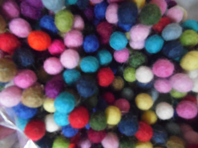 Wool Felt Balls,1cm,Packs of 50 Mixed Colours,  Free Post