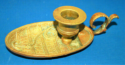 An antique brass rowing boat, anchor chamber candlestick, Victorian, nautical