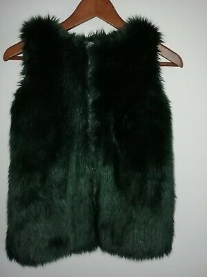 Next Age 8 Girls Dark Forest Green Faux Fur Gilet, Lined, perfect condition