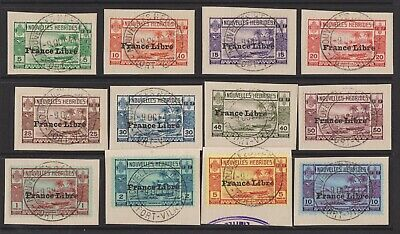 1941 French New Hebrides set on piece SGF65-F76 fine used, rare