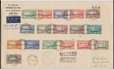 1941 French New Hebrides two sets on Air Mail cover SGF65-F81 fine used, rare