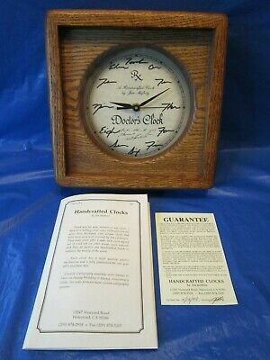 Doctor's Clock Shelf Mantel Wood Case Glass Covered Face Battery Operated Works