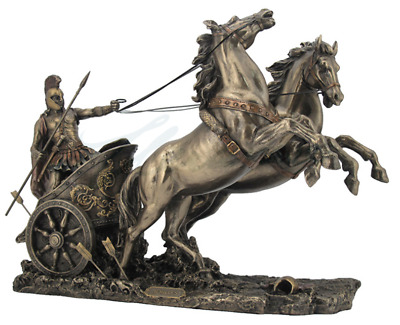 Achilles Greek Warrior On Two Horse Chariot Statue Sculpture Collectible Figure