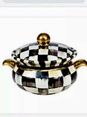 MacKenzie-Childs Courtly Check & Gold Ceramic Lidded Chowder Bowl New Retired