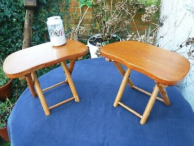 Vintage Pair of Small Folding Stools - Plant Stands, Tables, VW, Camping