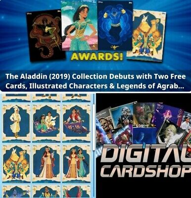 Topps Disney Collect Aladdin 2019 Illustrated Characters Set of 16 + Award