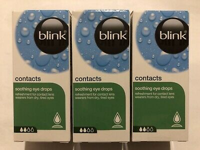 3 x 10ml Blink Soothing Eye Drops For Contacts, Best By Nov 2021 , New In Boxes