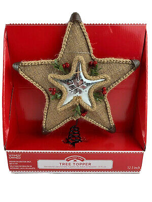 """Holiday Time Christmas Tree Topper 12.5"""" Burlap Metal Star w/Berries"""