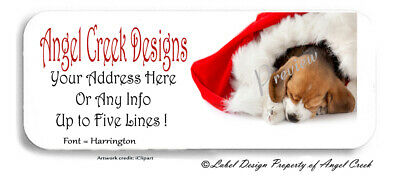 Beagle Puppy in Santa Hat Holiday Christmas Personalized Return Address Labels