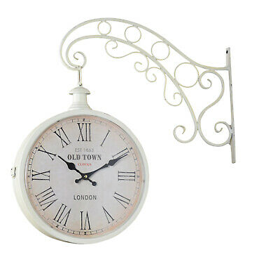 Reloj de Pared Metal Vintage Retro Estación Rústico Shabby Antiguo Look Blanco