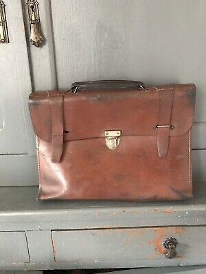 Vintage French Leather School Satchel, Briefcase, Music Bag