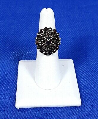 Amazing Antique Bohemian Garnet ring with .900 silver band size 6.5