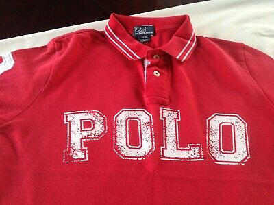 Boys RALPH LAUREN Polo Shirt Short Sleeve Red Cotton Size L(14-16) Age 11-12 Yrs