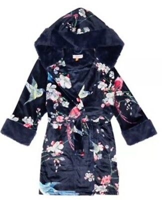 Ted Baker - Girls' navy floral print velour dressing gown BNWT 5-6