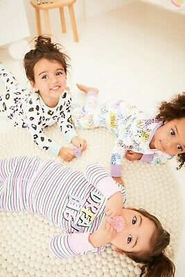 BNWT Next Girls 3 Pack 5-6 Years Snuggle Fit Pyjamas Leopard, Multicolour Design