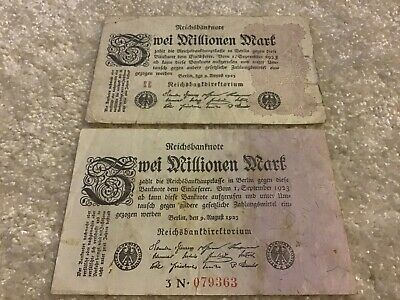 2 X German Banknotes. 2 Million Marks. Dared 1923. Germany Notes.
