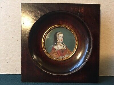 A Lovely Late 19th Century French Antique Portrait Miniature Of Beautiful Lady,