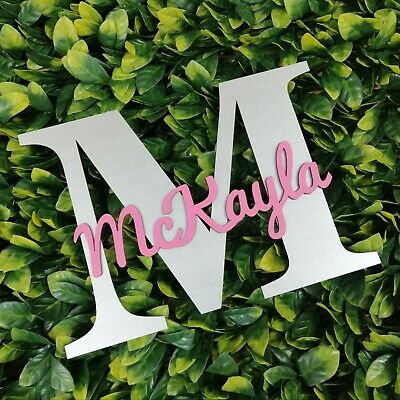 Personalised painted wooden letter with script name - ANY COLOUR - Name Sign
