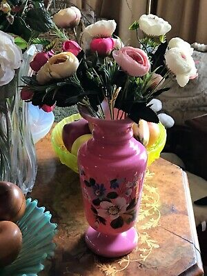 Beautiful large Antique Victorian cased glass hand painted enamel flowers vase