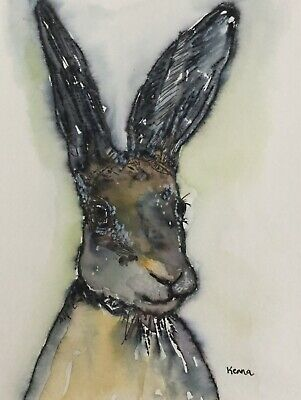 Bunny Rabbit Watercolour & Ink Painting Animal Art By Kenna Unframed Original