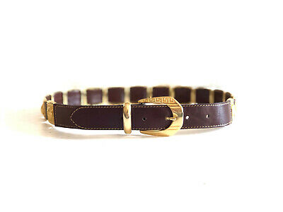 Vintage 1980s brown leather 'Very Versace' belt with gold Grecian links