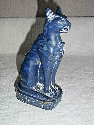 Vintage 1999 blue Bastet Egyptian Lapis Cat Hand Crafted Statue Bast Goddess