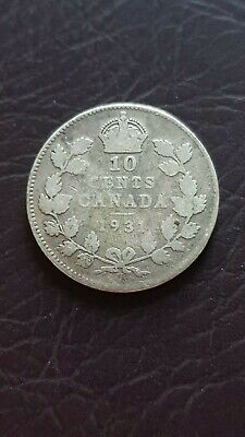 1931 Canada Silver 10 Cents Dime George V Coin Ten Cent