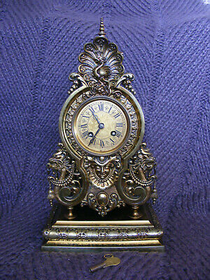 Lovely Old Antique Vintage French Oriental Style Solid Brass Dragon Mantel Clock