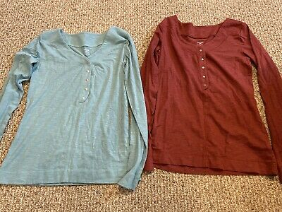 2 Women's HORNY TOAD & CO Sonja Henley Long Sleeve Shirt Blue Red Small