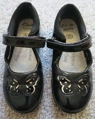 Girls Clarks lights 10.5G butterfly black patent school shoes