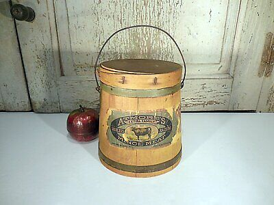 AAFA Primitive Painted Pine Firkin Antique Wood Bucket Pail Mince Meat